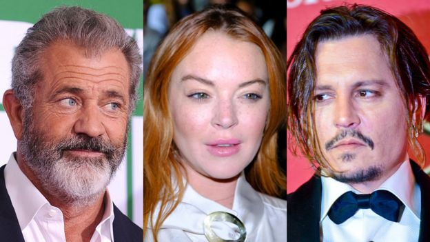 Mel Gibson, Lindsay Lohan y Johnny Depp