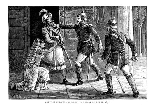 An illustration showing the arrest of Bahadur Shah Zafar