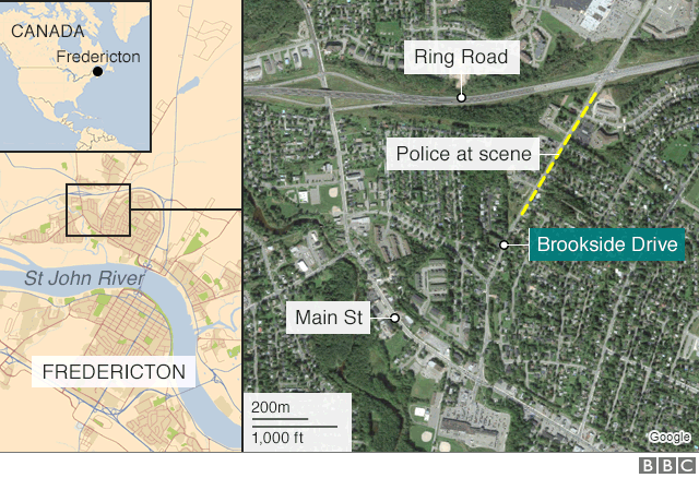 A BBC map showing the scene of the shooting, and the location of Fredericton in Canada