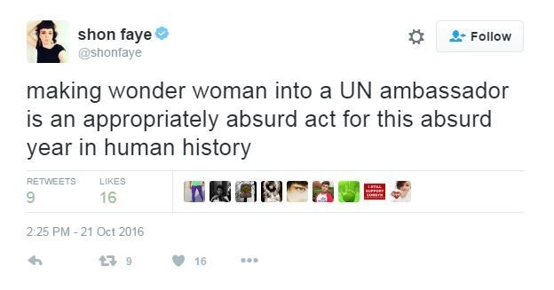 """Twitter user Shon Faye writes: """"making wonder woman into a UN ambassador is an appropriately absurd act for this absurd year in human history""""."""