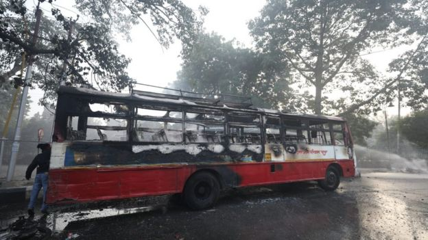 A burnt bus in Lucknow