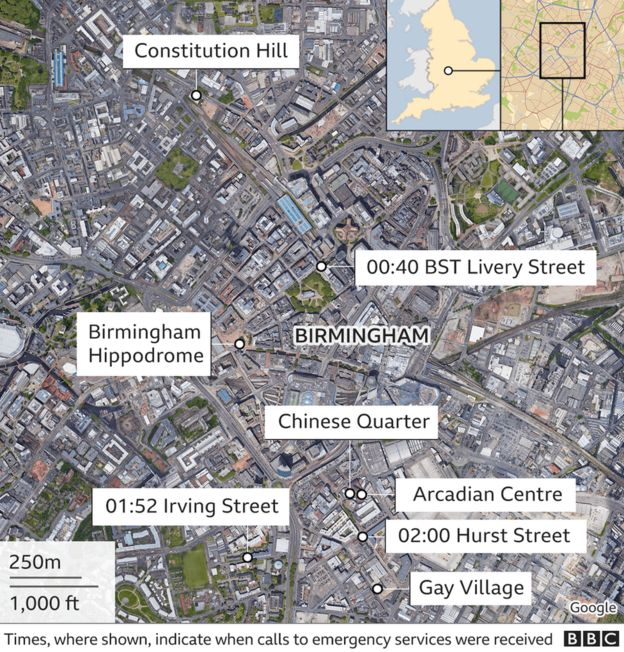 map showing the locations of the stabbings