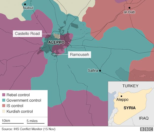 Map showing control of Aleppo, Syria on 15 November 2016