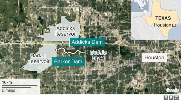 Map showing Addicks and Barker reservoirs and dams near Houston
