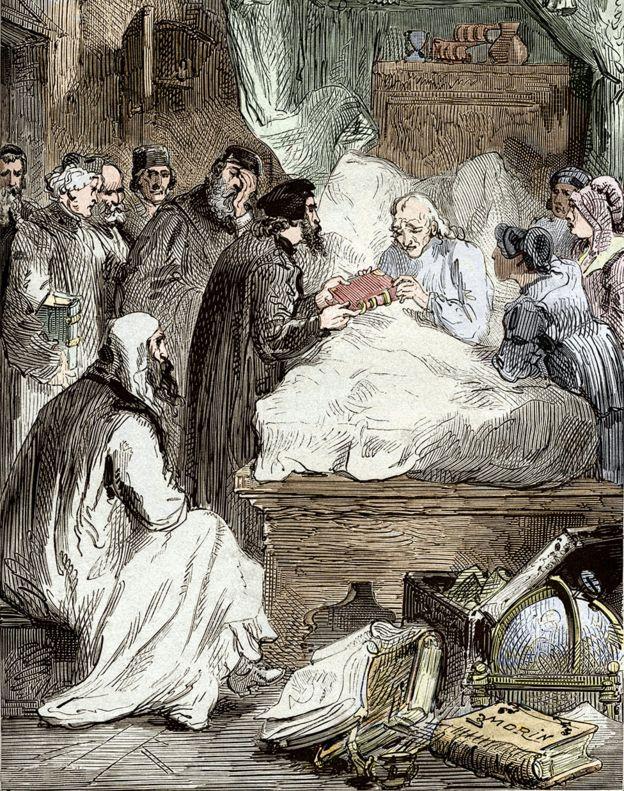 Ilustración Copérnico en su lecho de muerte