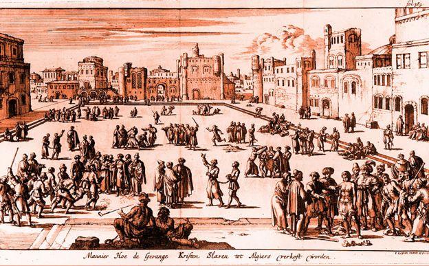 Mercado de esclavos en Argel, grabado de Luyken, circa 1650.