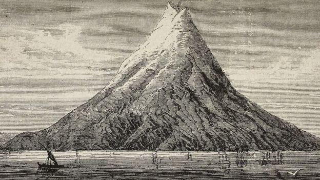 Una ilustración del volcán Krakatoa en 1883