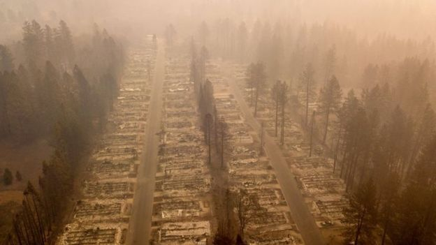 An aerial photo of a burned neighbourhood in the town of Paradise, California. Photo: 15 November 2018