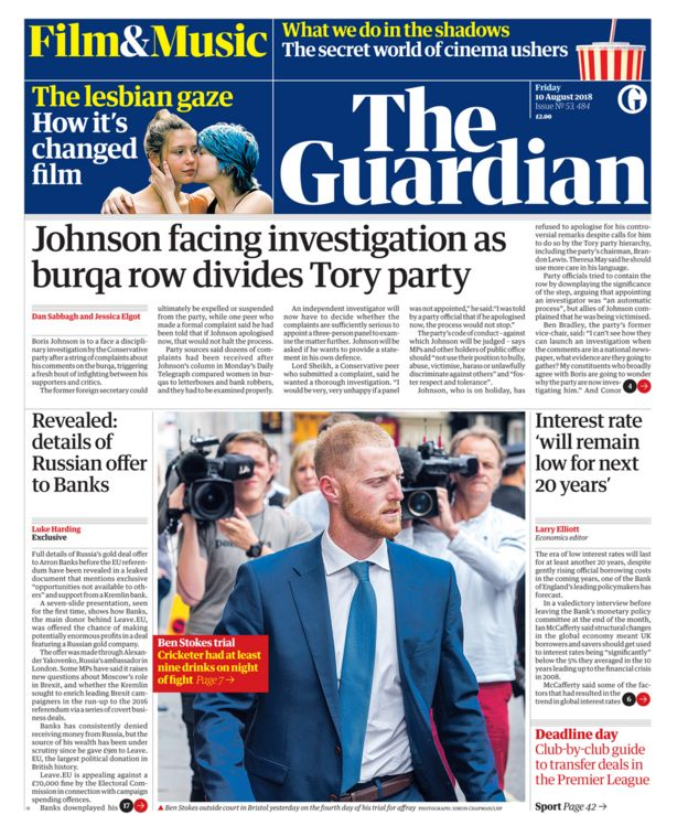 Guardian front page - 10/08/18