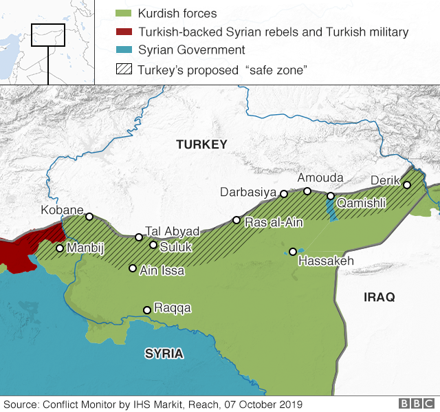 """Map showing control of north-eastern Syria and Turkey's proposed """"safe zone"""""""