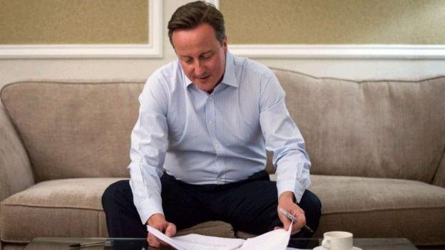 David Cameron works on speech