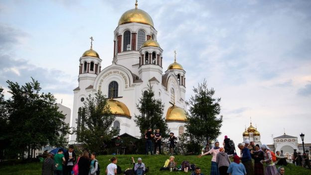 La iglesia sobre la sangre en nombre de todos los santos que resplandecieron en la tierra de Rusia