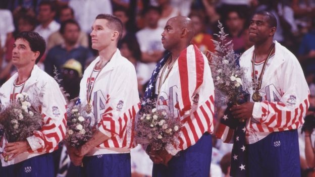 8 Aug 1992: John Stockton, Chris Mullen, Charles Barkley and Magic Johnson of the USA during the medal cermony after winning gold medal in men's basketball at the 1992 Olympic Games in Barclona, Spain.