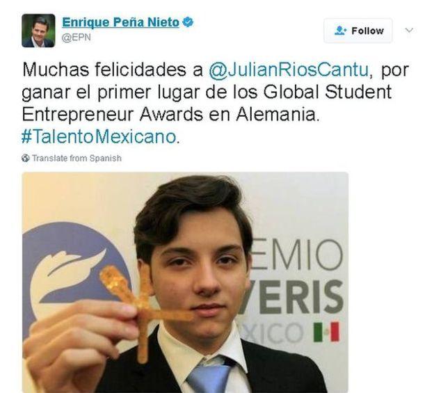 Rais wa Mexico alimpongeza Julian kwa kushinda tuzo la wanafunzi wafanyibiashara