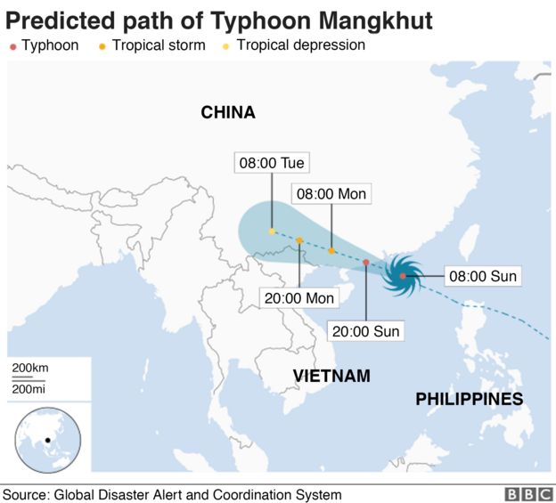 Map showing the path of Typhoon Mangkhut as of 08:00 GMT Sunday 16 Sept