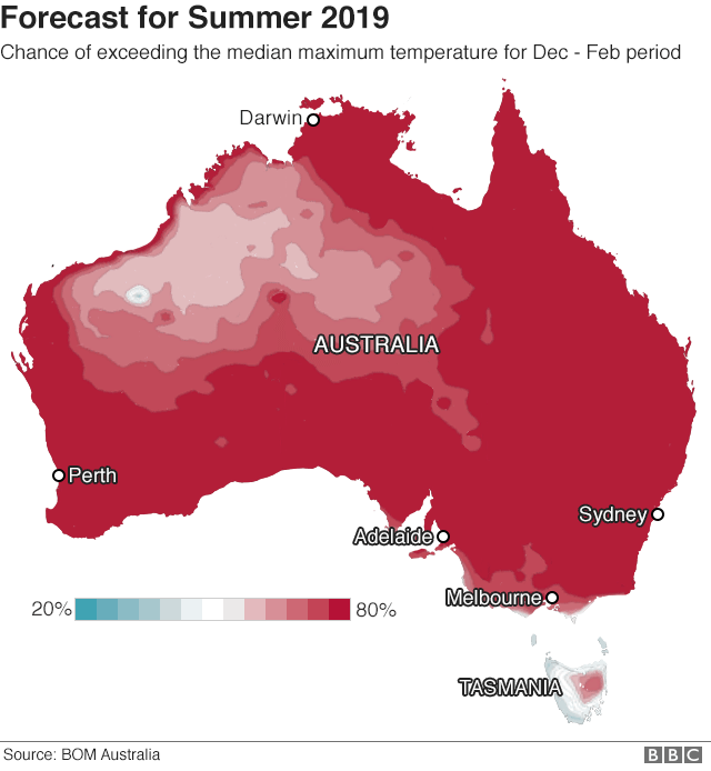 Map showing forecast high temperatures in Australia