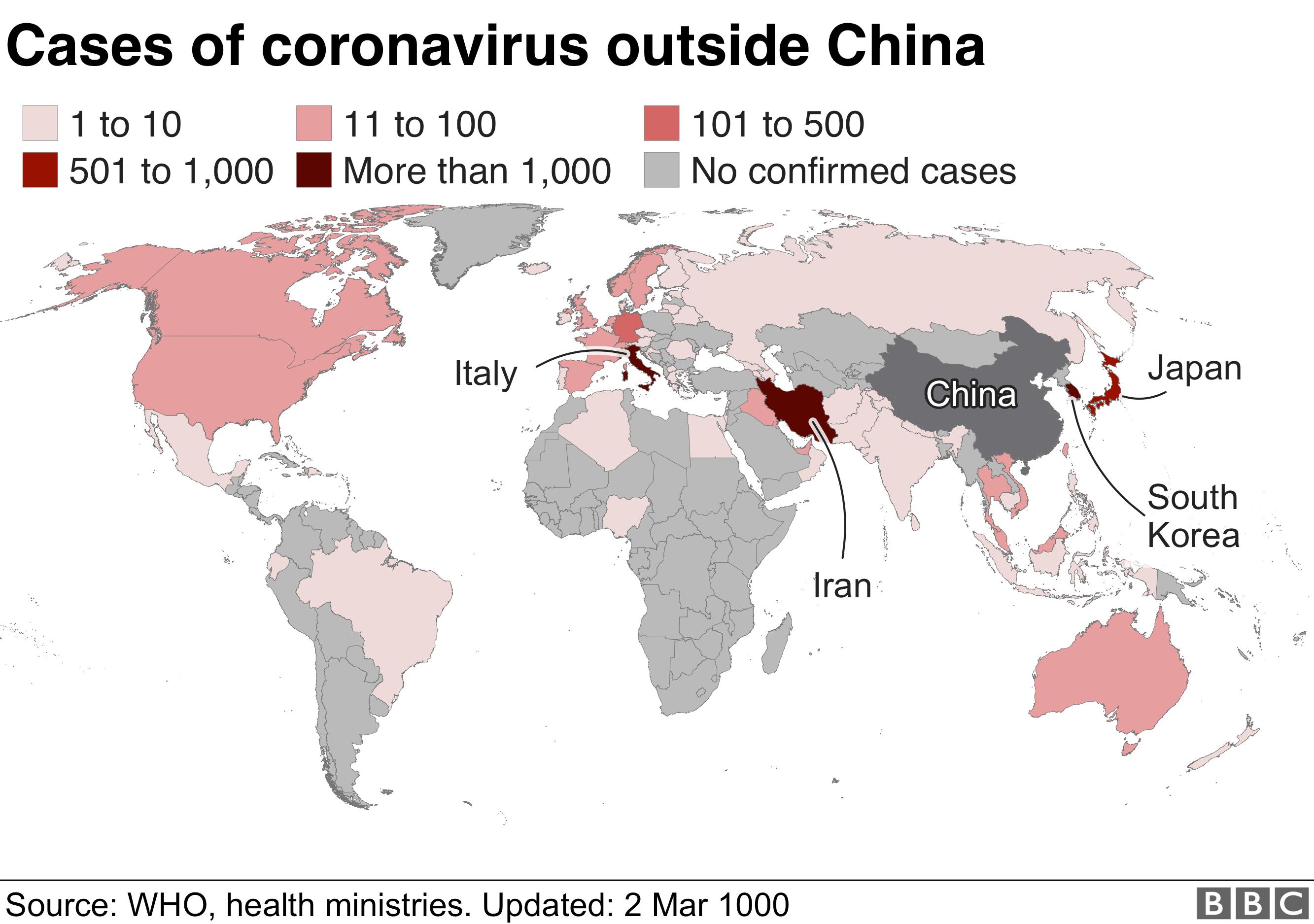Map showing global cases of coronavirus