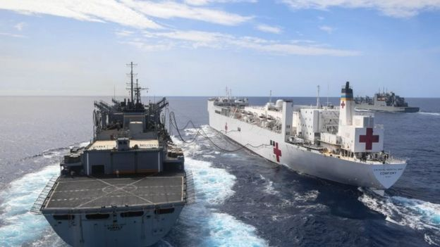 US Navy hospital ship Comfort in the Atlantic 2 Oct 2017