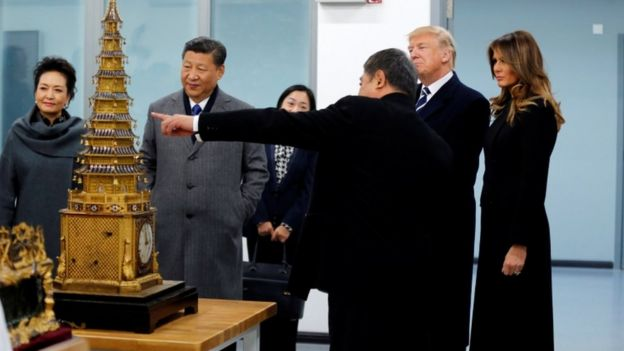 US President Donald Trump and Chinese President Xi Jinping tour the Conservation Scientific Laboratory of the Forbidden City in Beijing