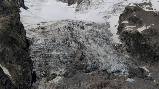The bottom section of glacier is at risk of collapse (pic: Fondazione Montagna Sicura via Reuters)