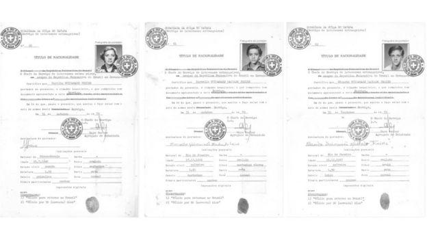 Certificados de nacionalidade de Marília e filhos