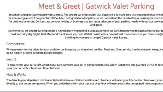Gatwick airport parking scammer admits misleading people bbc news the company website claimed the facility was manned and guarded 247 m4hsunfo