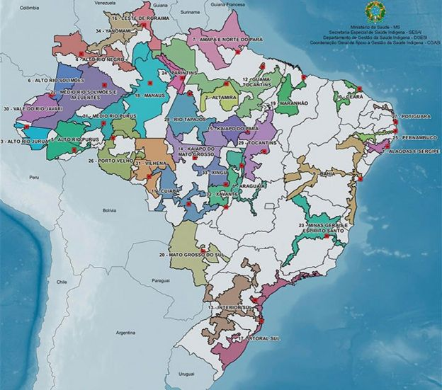Mapa dos DSEIs