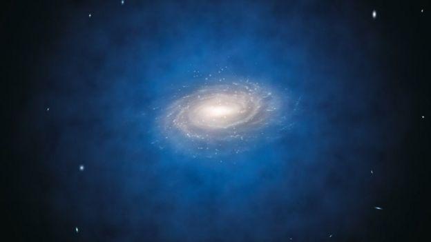 Ilustración de una galaxia en espiral rodeada de materia oscura