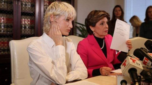 """""""Jane Doe 15"""", left, gave a press conference with lawyer Gloria Allred"""