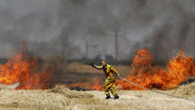 Israeli firefighters try to extinguish the fire in a wheat field caused by an incendiary kite in southern Israel (30 May 2018)
