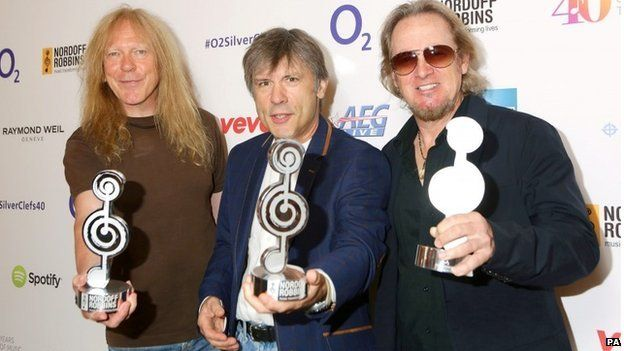 Janice Gers, Bruce Dickinson and Adrian Smith of Iron Maiden