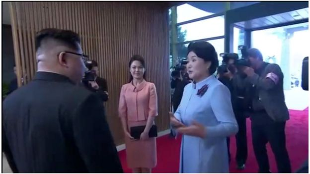 "North Korean leader Kim Jong Un""s wife, Ri Sol Ju, arrives to join the inter-Korea dinner at the truce village of Panmunjom, in this still frame taken from video, South Korea April 27, 2018. Host Broadcaster via REUTERS TV"