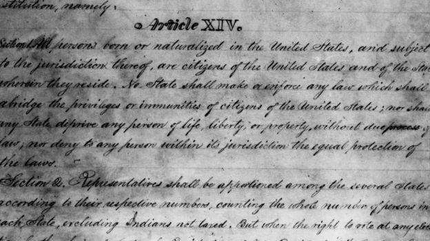 Borrador de la Enmienda 14 de la Constitución de Estados Unidos.