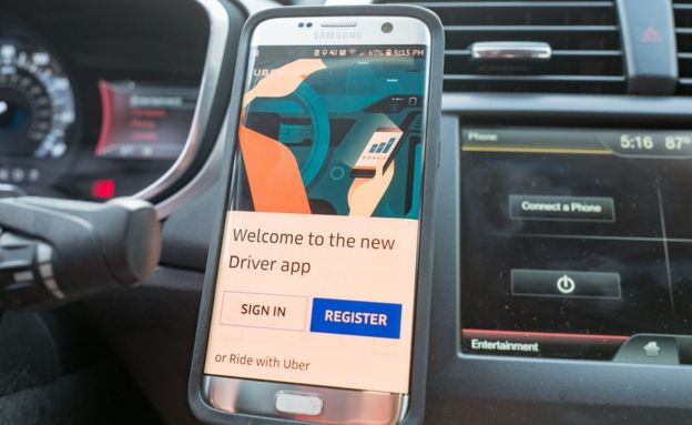 The Uber drivers app displayed on a mobile phone