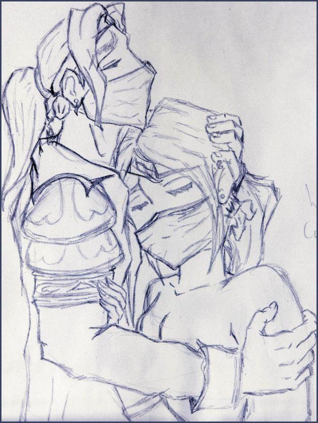Ibelin sosteniendo Rumour, dibujado por Lisette Roovers