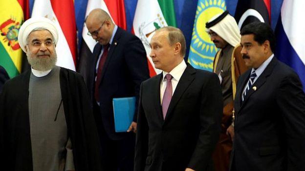 Hassan Rouhani, Vladimir Putin y Nicolás Maduro