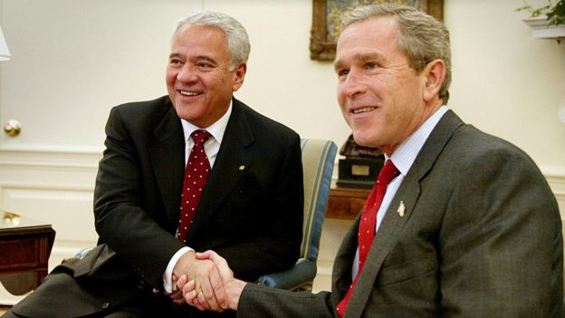 Sánchez de Lozada y George Bush