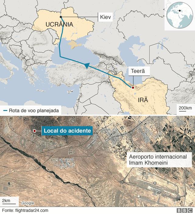 Mapa mostra local do acidente