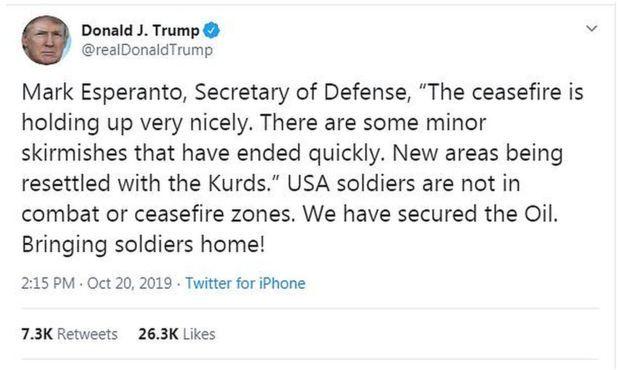 ترامپ در توییتر از برقراری آتش بس خبر داده
