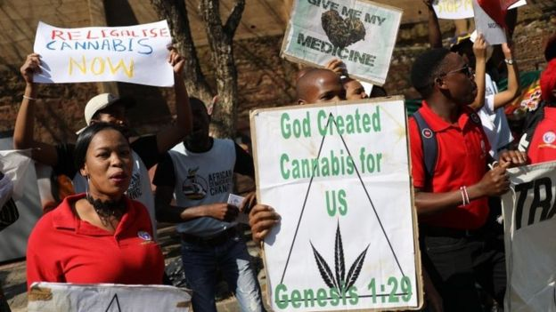 Supporters of the legislation of marijuana celebrate after the Constitutional Court ruled that the personal use and growing of marijuana in South Africa is legal Johannesburg South Africa 18 September 2018
