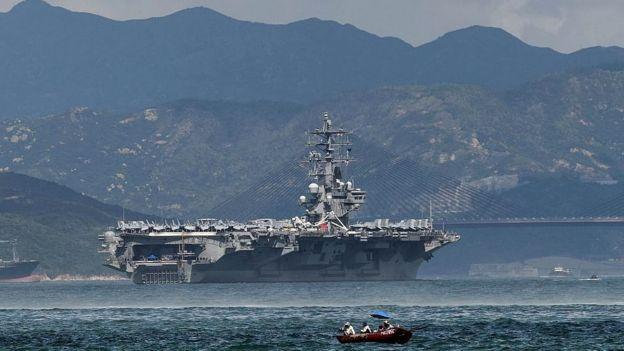 USS Ronald Reagan sails in Hong Kong waters on October 2, 2017
