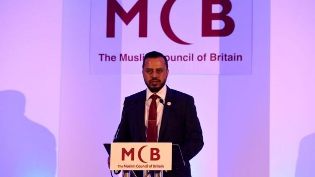 Secretary General of Muslim Council of Britain Harun Khan speaking