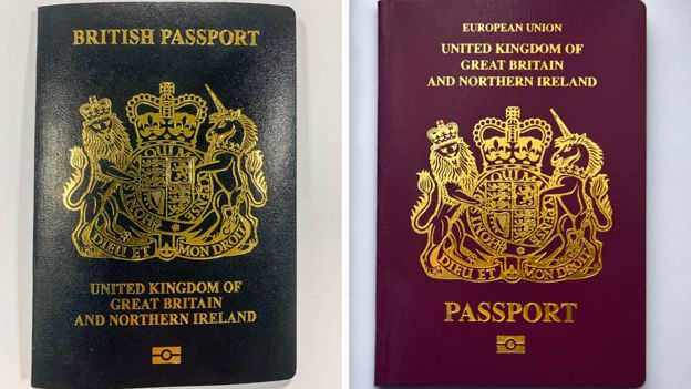 A new blue British passport alongside the current burgundy British passport