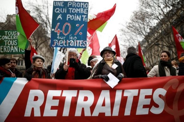 Fransa'da genel grev vesileseyle düzenlenen bir gösteri