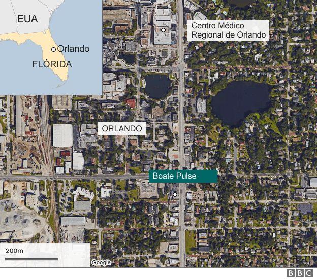 Mapa e imagem aérea de local do ataque