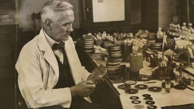 Alexander Fleming en su laboratorio.