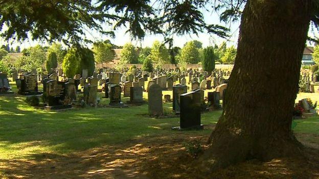 Picture shows gravestones at Canley Crematorium in Coventry