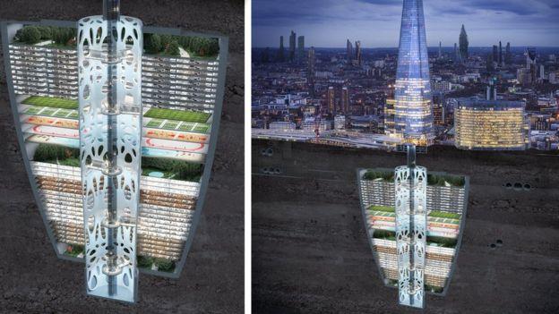 طرح ساختمانی زیرزمینی که فضای سبز و امکانات ورزشی و مکانهایی برای زندگی دارد