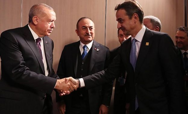 Cumhurbaşkanı Recep Tayyip Erdoğan ve Yunanistan Başbakanı Kiryakos Miçotakis