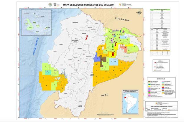 Mapa oficial de bloques petroleros de Ecuador